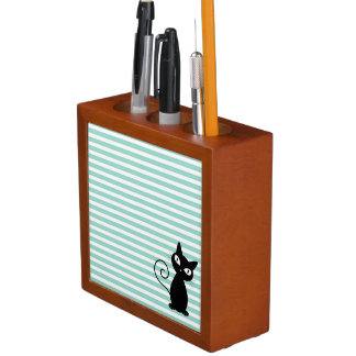 Cute Whimsical Black Cat on Stripes Desk Organizer