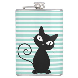 Cute Whimsical Black Cat on Stripes Hip Flask