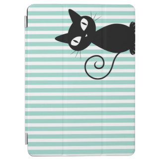 Cute Whimsical Black Cat on Stripes iPad Air Cover