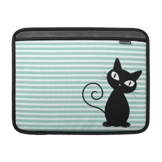 Cute Whimsical Black Cat on Stripes MacBook Sleeve