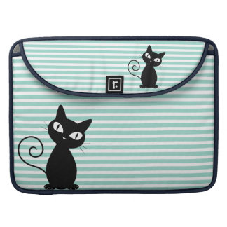 Cute Whimsical Black Cat on Stripes Sleeve For MacBook Pro