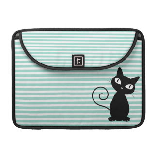Cute Whimsical Black Cat on Stripes Sleeve For MacBooks