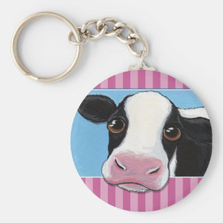 Cute Whimsical Black & White Cow with Pink Stripe Basic Round Button Keychain