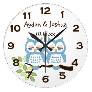 Cute Whimsical Blue Boy Owl Twins Wall Clock