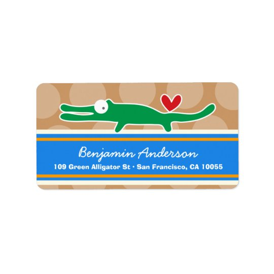 Cute Whimsical Cartoon Alligator Address Labels
