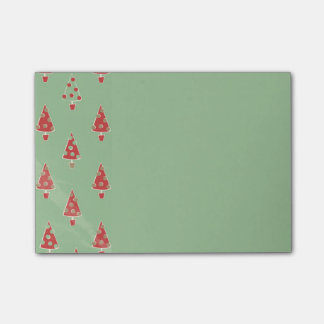 Cute Whimsical Christmas Tree Pattern Sticky Note