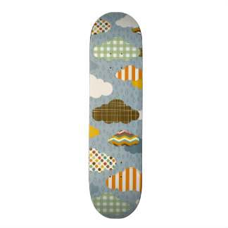 Cute Whimsical Clouds Patterns of Plaid Polka Dots Skate Boards