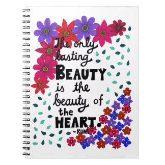 Cute Whimsical Floral Inspirational Beauty Quote Notebooks