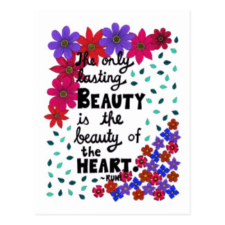 Cute Whimsical Floral Inspirational Beauty Quote Postcard