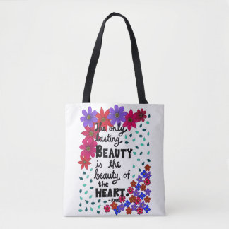 Cute Whimsical Floral Inspirational Beauty Quote Tote Bag