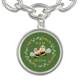 Cute Whimsical Floral Wreath Mr & Mrs Meant To Bee Bracelet