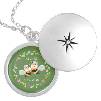 Cute Whimsical Floral Wreath Mr & Mrs Meant To Bee Locket Necklace