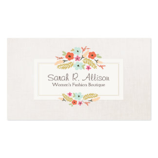 Cute Whimsical Flowers Fashion Boutique Linen Look Business Card