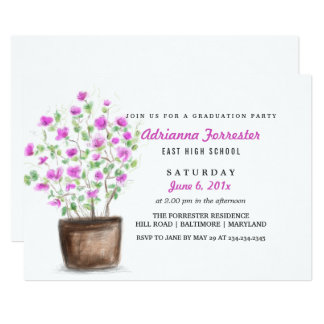 Cute Whimsical Flowers Graduation Party Card
