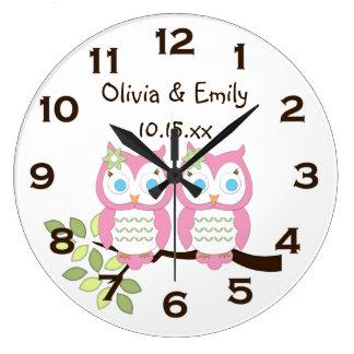 Cute Whimsical Girl Pink Owl Twins Wall Clock