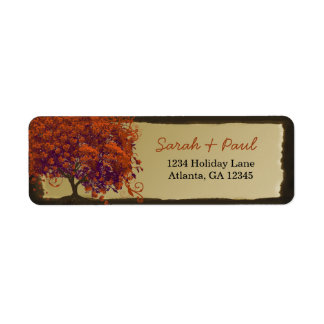 Cute Whimsical Heart Leafed Dark Coral Tree Return Address Label