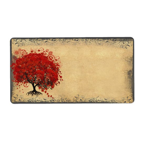 Cute Whimsical Heart Leafed Tree Red