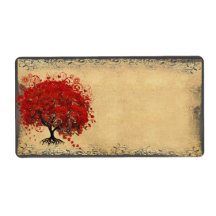 Cute Whimsical Heart Leafed Tree Red Personalised Shipping Labels