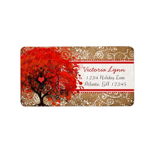 Cute Whimsical Heart Leafed Tree Red Pink Dots Label