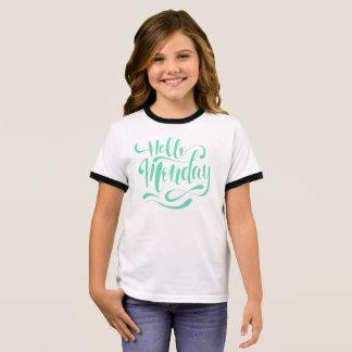 Cute Whimsical Hello Monday | Ringer Shirt