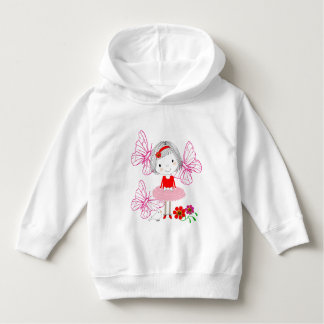 Cute Whimsical Little Girl Butterflies And Flowers Hoodie