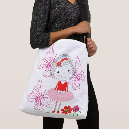 Cute Whimsical Little Girl Butterfly Flowers Crossbody Bag