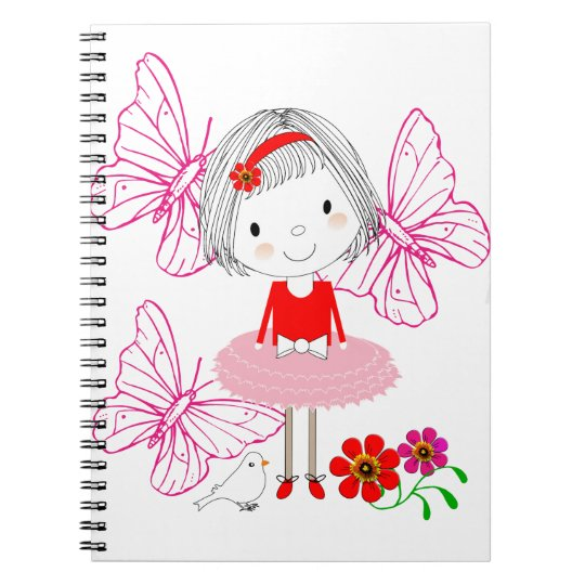 Cute Whimsical Little Girl Butterfly Flowers Notebook