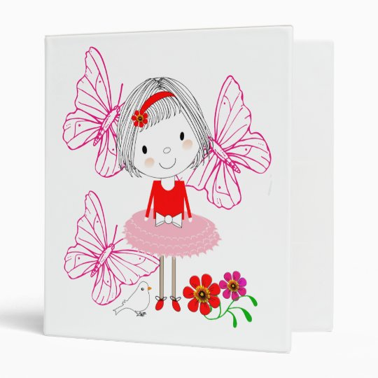 Cute Whimsical Little Girl Butterfly Flowers Vinyl Binders