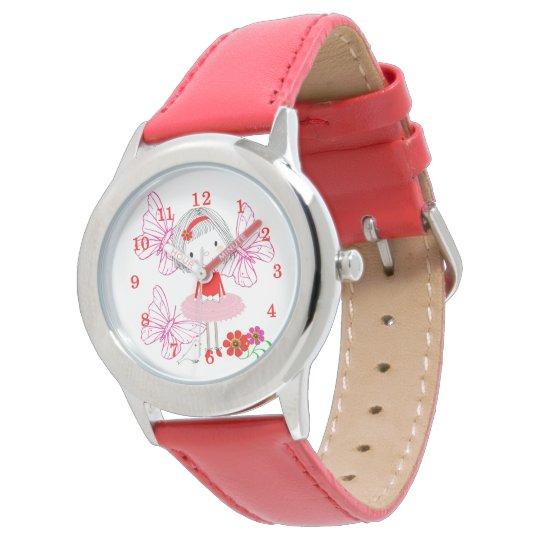 Cute Whimsical Little Girl Butterfly Flowers Watch