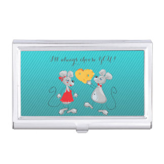 Cute Whimsical  Mouses-I`ll always choose you Business Card Holder