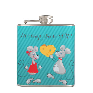 Cute Whimsical  Mouses-I`ll always choose you Hip Flask