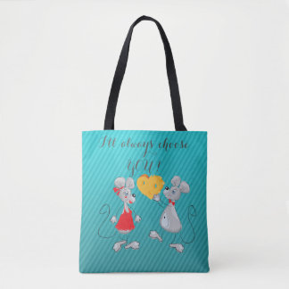 Cute Whimsical  Mouses-I`ll always choose you Tote Bag