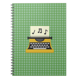 Cute Whimsical Music Note Typewriter Spiral Notebook