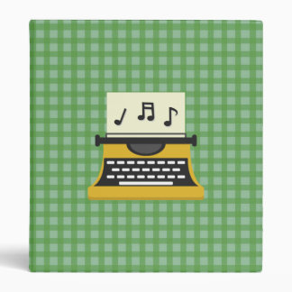 Cute Whimsical Music Note Typewriter Vinyl Binders