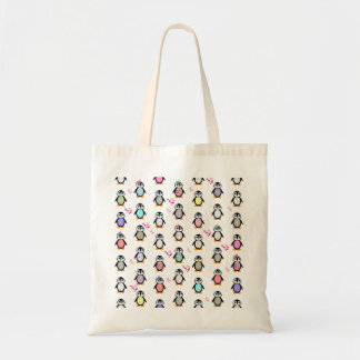 Cute Whimsical Penguins Floral Geometric Pattern