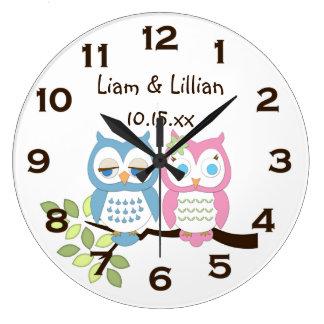 Cute Whimsical Pink Blue Owl Twins Wall Clock