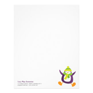 Cute Whimsical Purple Penguin Personalizable Lette Letterhead