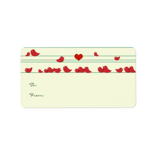 Cute Whimsical Red Birds Christmas Gift Tags