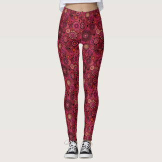 Cute whimsical Rosy Red Floral Print Leggings