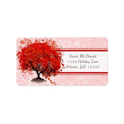 Cute Whimsical Swirl Heart Tree Red Pink Dots Custom Address Labels
