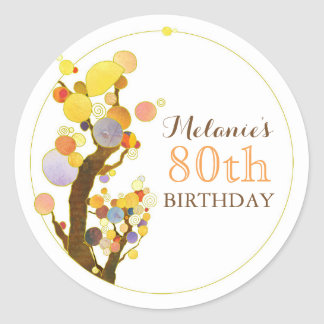 Cute Whimsical Trees Birthday Round Sticker