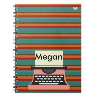 Cute Whimsical Typewriter Customizable Spiral Notebook