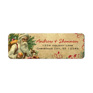 Cute Whimsical Vintage Santa Return Address Labels