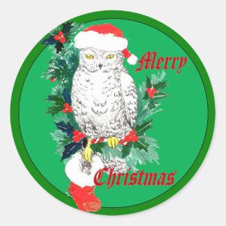 Cute Whimsical Wildlife Christmas Owl Stocking Classic Round Sticker