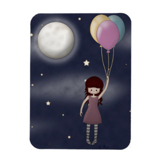 Cute Whimsical Young Girl with Balloons Magnet