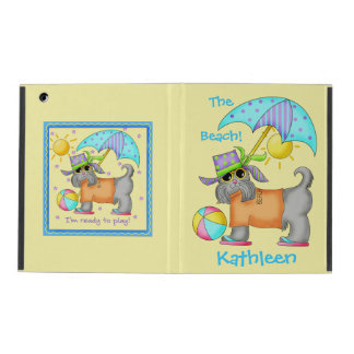 Cute Whimsy Beach Dog Yellow Name Personalized iPad Case