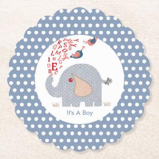 Cute  Whimsy Blue Kids Alphabet Elephant Paper Coaster