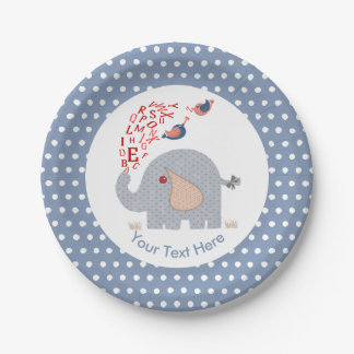 Cute  Whimsy Blue Kids Alphabet Elephant Paper Plate