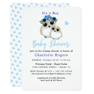 Cute Whimsy Fluffy Owl Blue Heart Baby Boy Shower Card