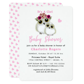 Cute Whimsy Fluffy Owl Pink Heart Baby Girl Shower Card